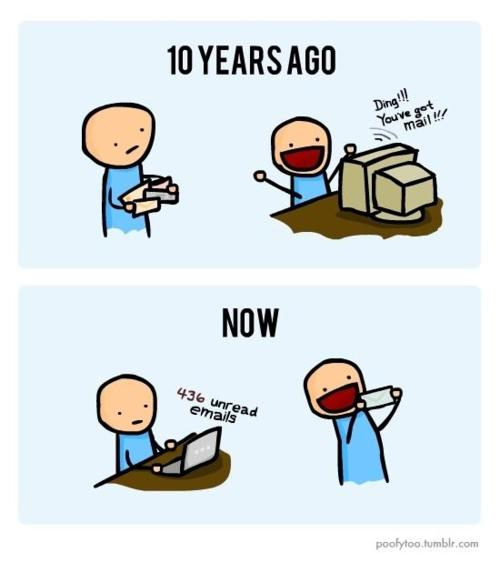 email vs. snail mail comic