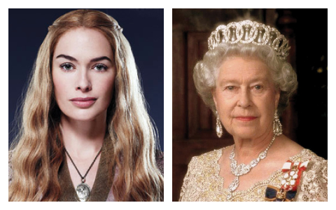Cersei from Game of Thrones and the Queen of England.