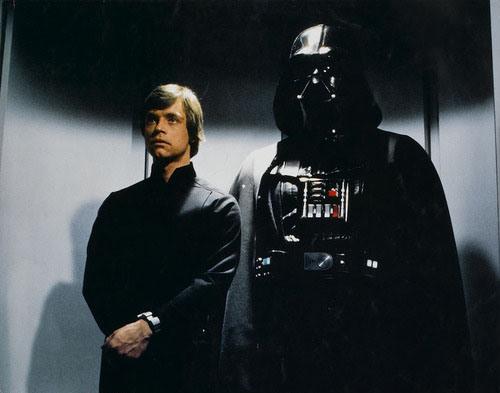 Luke Skywalker and Darth Vader in an elevator.