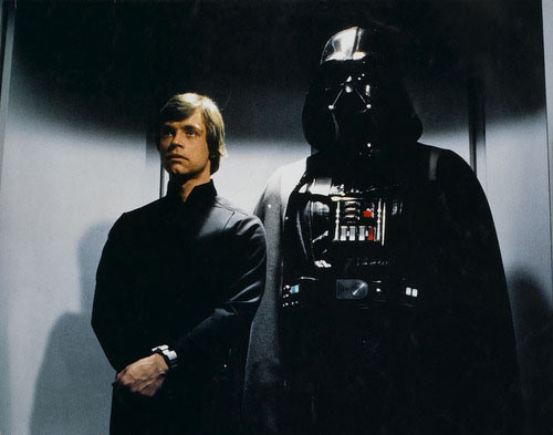 Luke Skywalker and Darth Vader in an elevator.