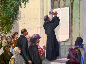 In 1517, Martin Luther nailed his 95 Theses, criticizing the mainstream church of the day, to the Wittenberg Door, and started the Reformation movement.