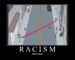 man crosses street to avoid man of different ethnicity