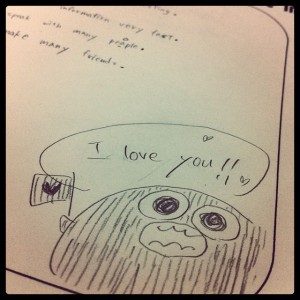 "cute character saying ""I love you"""