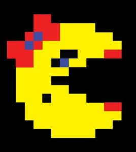 "The classic example of when game designers ""put a bow on it"" to create a female character: Mrs. Pacman."