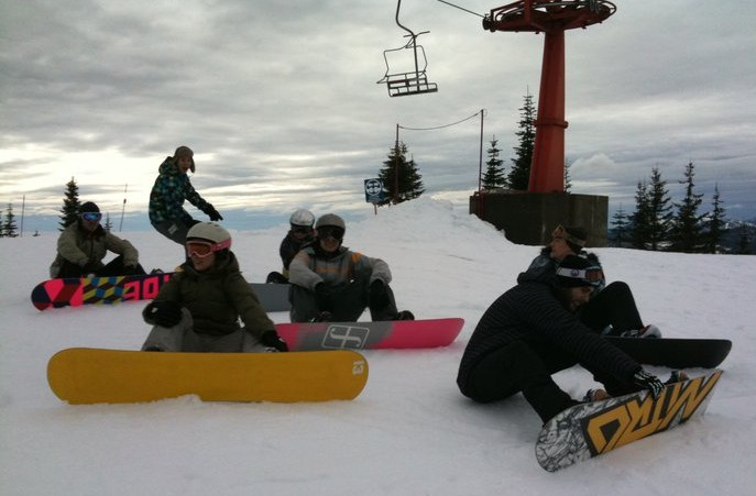post-wedding snowboarding, top of the chairlift