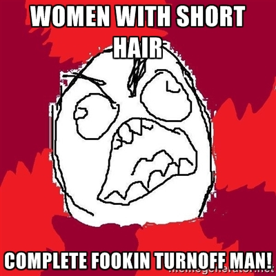 short hair women unattractive meme