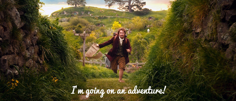 Bilbo Baggins adventure with quote