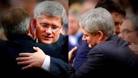 PM Harper hugs opposition party leaders in the House of Commons the next day.