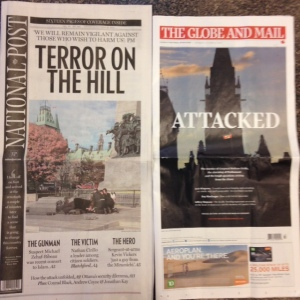 Covers of two national newspapers the next day. I could do a whole media studies blog post on this alone!